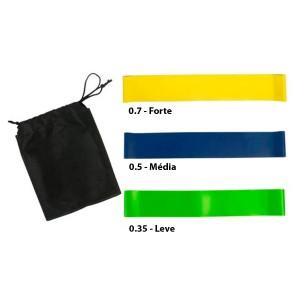 Kit 3 Mini Band Leve - Medio - Forte - Azul Esportes