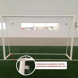 Trave Futebol de 5 Oficial C/ Requadro - Aço - Azul Esportes