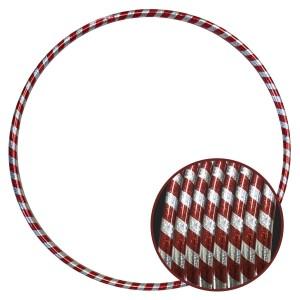 Arco Ginástica Rítmica Oficial 85cm - Fita Holográfica - Prata e Vermelho - Azul Esportes