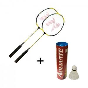 Kit Badminton com 2 Raquetes e 6 Petecas - Azul Esportes