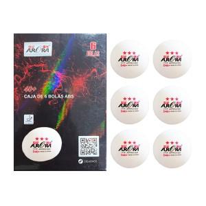 Bola Tênis de Mesa 3 estrelas - 6 unidades - Branca - ITTF - Aurora