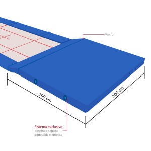 Colchão de Proteção Mesa Extensora Trampolim Acrobático Ginastica Artística - Azul Esportes
