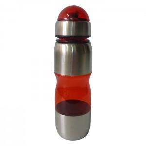 Squeeze Acrílico com Inox - 600 ml - Vermelho